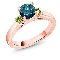 Gem Stone King 1.04カラット 天然 ブルーダイヤモンド 指輪 リング レディース 天然石 ペリドット シルバー925 ピンクゴールドコーティング
