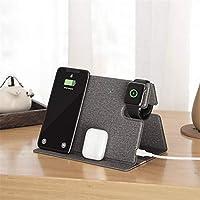 折りたたみ式高速ワイヤレス充電器、3-in-1 QI認定ワイヤレス充電ステーション、該当する iPhone 12 Pro Max Airpods iWatchSamsungレザーワイヤレス充電器スタンド