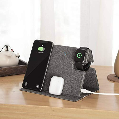 Cargador inalámbrico rápido plegable, estación de carga inalámbrica 3 en 1 con certificación QI, adecuado para iPhone 12 Pro Max Airpods iWatch Soporte de cargador inalámbrico de cuero Samsung