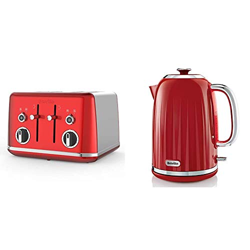 Breville Lustra 4-Slice Toaster with High Lift, Wide Slots and Independent 2-Slice Controls, Candy Red [VTT852] & Impressions Electric Kettle, 1.7 Litre, 3 KW Fast Boil, Red [VKJ956]