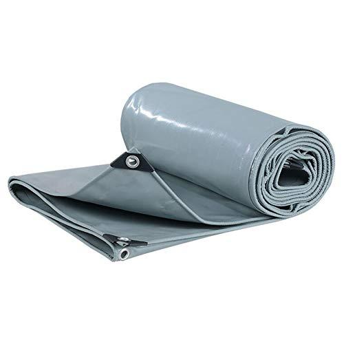Lonas Gruesas De PVC,Lona Resistente,Cubierta De Hoja De Tierra 100% Impermeable,Paño De Lluvia Reforzado con Ojales,650 G/M²,Espesor 0,5 Mm(Color:Gris,Size:2 × 2 m)