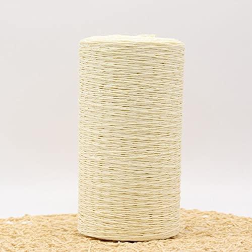 LIANG 500 g/Rollo de Hilo de Tejer a Mano Cuerda de Paja de Rafia Hilo de Ganchillo Suave para...