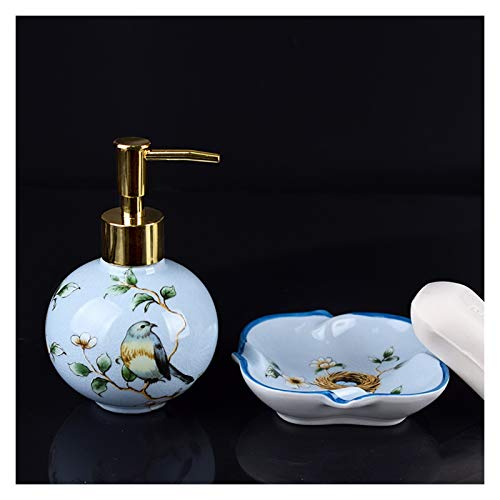 OMYLFQ Dispensadores de loción Jabón de jabón líquido de cerámica Americana Conjunto de Plato de jabón de Botella de loción Botella separada Baño de Dos Piezas Caja de jabón de baño jabón (Color : A)