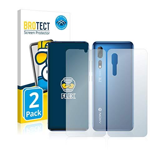 BROTECT Full-Cover Schutzfolie kompatibel mit ZTE Axon 10 Pro (Vorder + Rückseite) (2 Stück) - Full-Screen Bildschirmschutz-Folie, 3D, Kristall-Klar