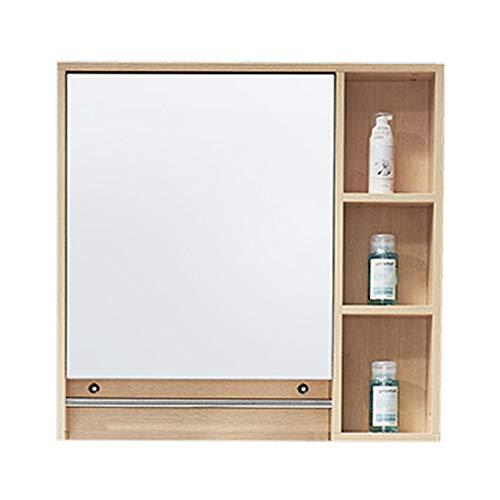 Knipperlichten muur gemonteerde massief hout spiegel kast met roestvrij staal handdoek rek badkamer balkon waterdichte zonnebrandcrème opslag spiegel kast