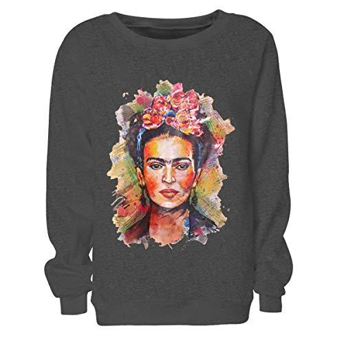 Frida Kahlo Imprimir Hoodie Sudadera con Cuello Redondo Mujer Sudadera con Cuello en u Manga Larga Jerseys (Color : Deep Gray, Size : L)