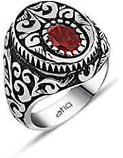 Atiq Ring for Men, 925 Sterling Silver - Red - Size 7