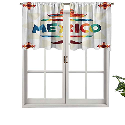 Hiiiman Cortinas cortas opacas con bolsillo para barra, diseño azteca tradicional de México, sombrero de paja, juego de 1, 137 x 45 cm, cenefas pequeñas de media ventana para dormitorio
