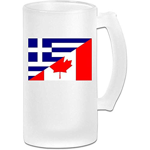 Vlag van Griekenland en Canada Frosted Glass Stein Beer Mok, Pub Mok, Drank Mok, Gift for Beer Drinker, 500Ml (16.9Oz)
