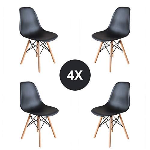 EGNM Pack 4 Esszimmerstühle Schwarz Stuhl Nordic Design Retro-Stil 82 x 47 x 53 cm(Schwarz -4)