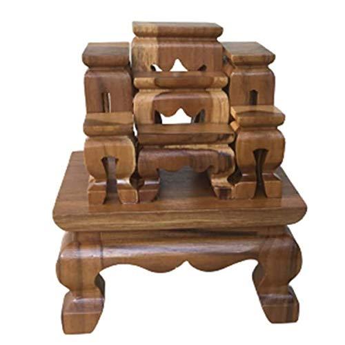 Cozinest Mini Altar Thai Buddha Worship Teak Wood Set 7 Amulet Miniature DollhouseTable Shelf Home Decor 5'