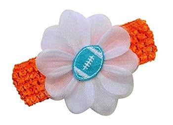 Baby Embroidered Felt Football Flower Headband  Orange Band/Teal Ball