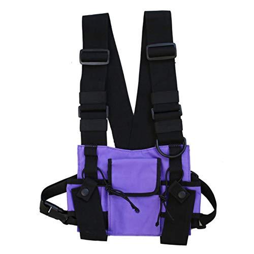 Bolsa de pecho para hombres y mujeres, chaleco con múltiples bolsillos, chaleco Hip Hop Streetwear funcional arnés en el pecho, bolsa de cintura ajustable