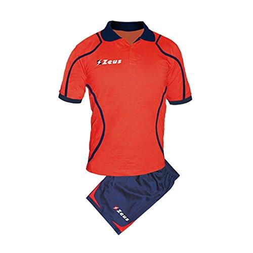 Zeus Herren Trikot und Short Running Laufen Training Fußball Fitness Sport Set Trikot Shirt Shorts Hosen KIT RELAX FAUNO (XL, BLAU-ROT)