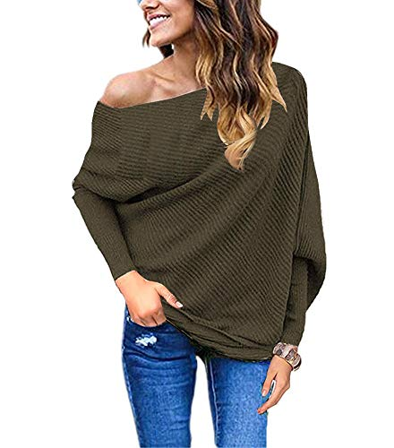 Knitted fabric and bat wings sleeve sexy Off shoulder pullover tops Loose baggy off shoulder plain basic long sleeve knitted jumper Suitable for Autumn Winter and Spring. Best match with sweatpants or jeans and high-heels Important Notice: GOLDSTITCH...