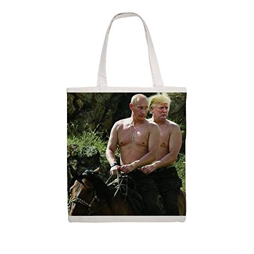 Cotton Canvas Tote Bag Trump And Putin Riding Horse Meme Shoulder Grocery Shopping Bags Cloth Shopping Bag