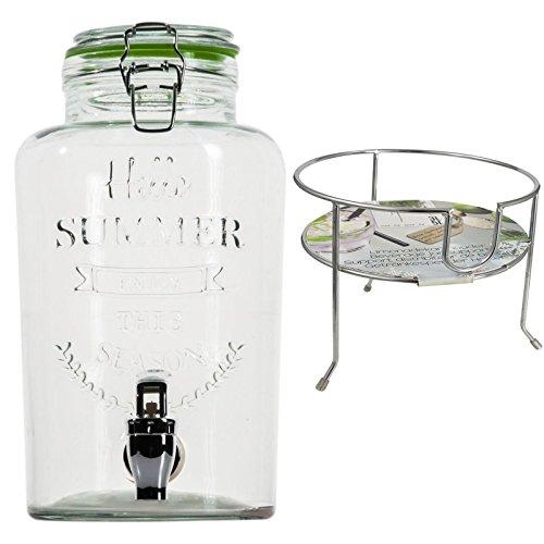 esto24 Hochwertiger Getränkespender aus Glas mit Schriftzug 3 Liter mit Zapfhahn Glasdeckel inkl. Getränkehalter