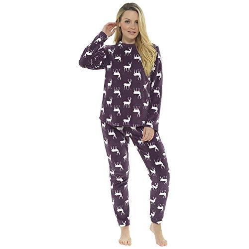 Ladies Foxbury Reindeer Fleece Pyjamas LN1045 Plum 16-18