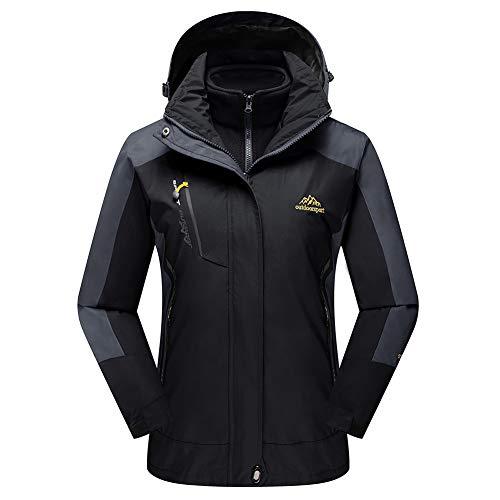 TACVASEN Women's Waterproof Ski Fleece Jacket 3-in-1 Mountain Windproof Fleece Warm Coat Black,US XL