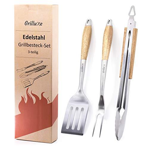 Grilluxe® Grillbesteck Set 3-teilig | BBQ Tool Set | Akazienholz + Edelstahl | Extra lang | Grillzange + Grillwender + Grillgabel | Auch für Backofen geeignet | Integrierter...
