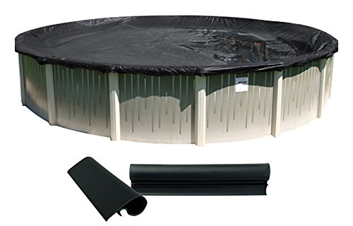 Buffalo Blizzard Deluxe Plus Winter Cover for 24-Foot Round Above Ground Swimming Pools | Blue/Black Reversible | 4-Foot Additional Material | Wind Guard Clips Included