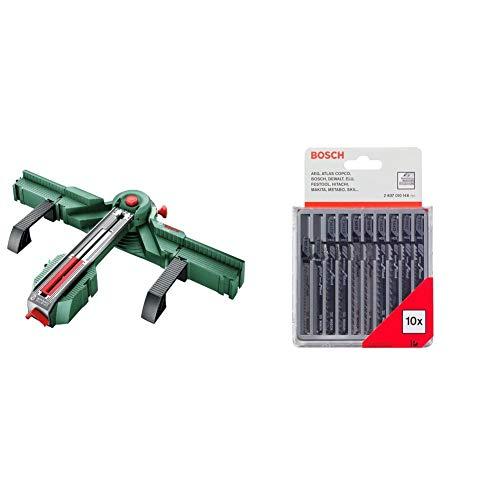 Bosch Sägestation PLS 300 (im Karton) & Professional 10tlg. Stichsägeblatt Set (für Holz, Zubehör Stichsäge T-Schaftaufnahme)