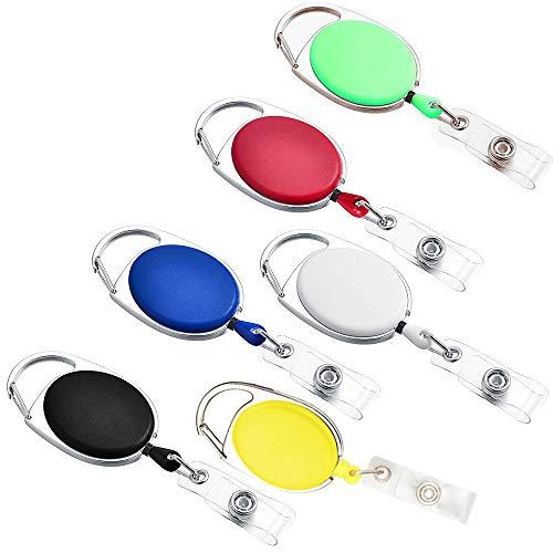 Amaoma 6 Piezas Llavero Retractil Tarjetas Portatarjetas Retráctiles Carrete Llaveros Retráctil de Tarjeta con Clip de Cinturon para Porta Tarjetas Identificativas, Color al Azar