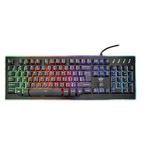 Trust GXT 860 Thura Halbmechanische LED-Tastatur (US QWERTY Layout, RGB-Beleuchtung, Anti-Ghosting)