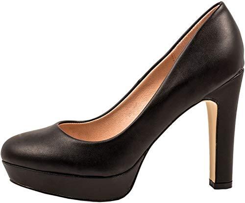 Elara Jumex Damen High Heels Schuhe Plateau Pumps Chunkyrayan E22321-Schwarz-39P
