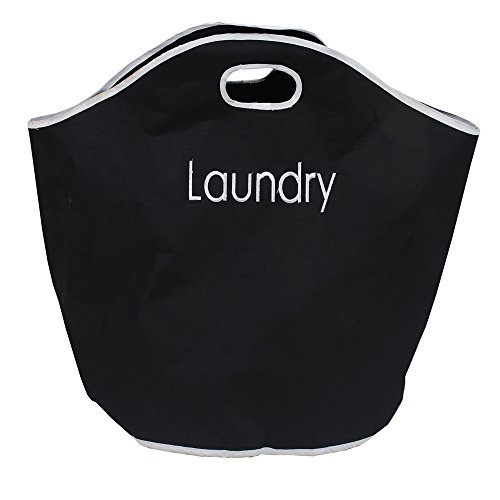 JVL Fabric Polyester Laundry Bag with Integrated Handles, Black