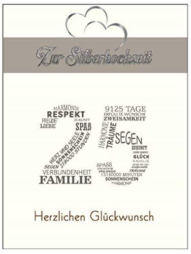 Elegante Glückwunschkarte A5 Silberhochzeit silver wedding mit Nummer 25 und Glückwünschen Silber 25 (Silber 1)