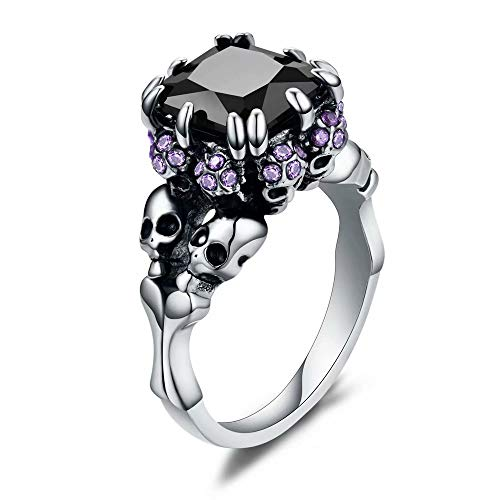 AILAAILA Dainty Black Skull Gothic Purple Cubic Zirconias Ring for Women, Cocktail Party Halloween Biker Skeleton Jewelry