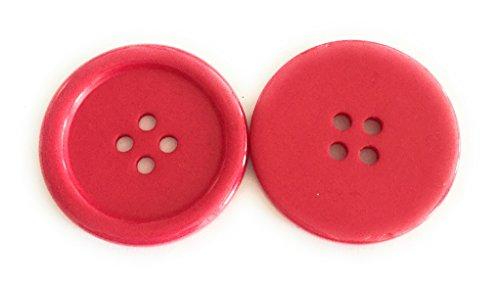 10 Boutons en Plastique 34mm en Acrylique DIY (Rouge)