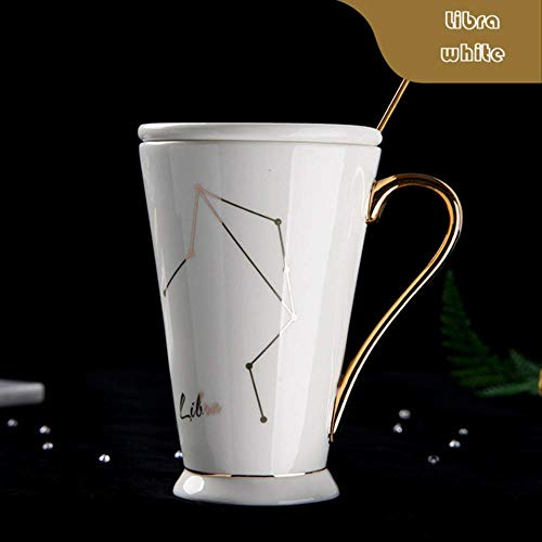 Siyao Cup 12 Constellaties Mokken Wit en Goud Been China Porselein Koffie Melk Mok met Zodiac Keramische Beker Pure Wit Weegschaal Wit