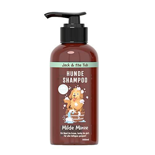 Milde Minze Shampoo per cani contro l'odore, 500 ml, per la cura del pelo vegano per cani | Shampoo benefico con olio di menta e effetto balsamo, pulizia delicata per pelo morbido e lucido e pelle