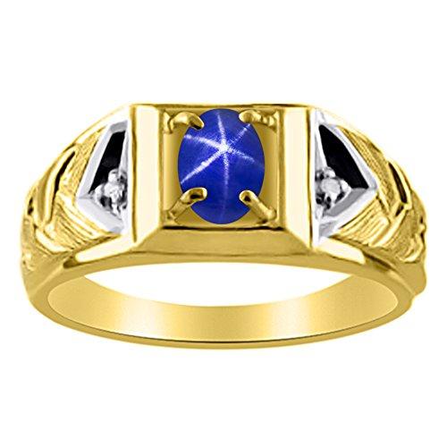 Diamond & Blue Star Sapphire anillo 14K amarillo o 14K oro blanco