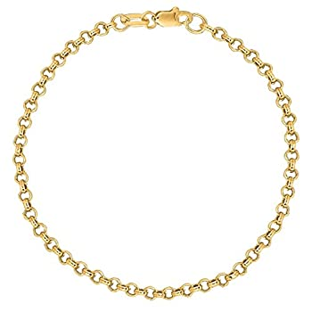 Ritastephens 14K Solid Yellow Gold Rolo Link Chain Bracelet 7 Inches 2.3 Mm