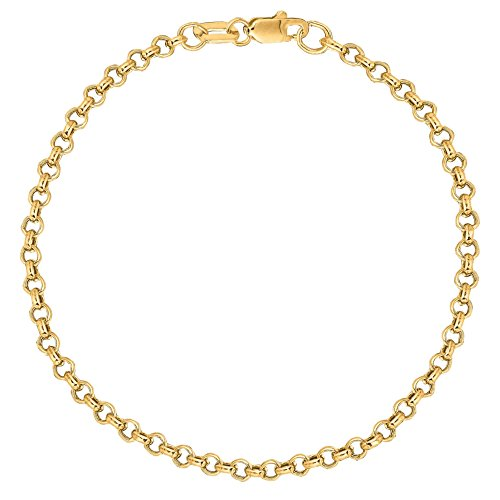 Ritastephens 10K Solid Yellow Gold Anklet Rolo Link Chain Ankle Bracelet 10 Inches 2.3 Mm