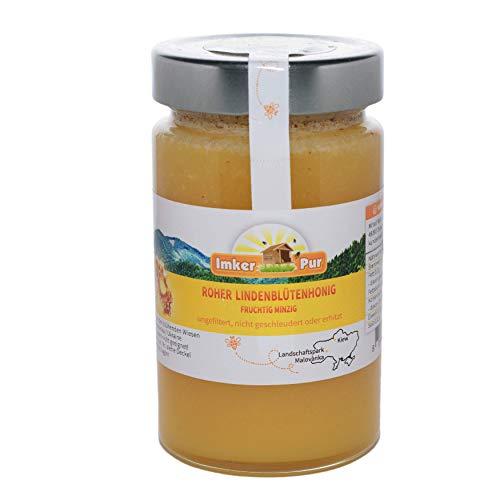 Ruwe honing uit ImkerPur, ongefilterd, niet gecentrifugeerd of verhit, bevat bloempollen, bijenwas, propolis, bijenbrood en koninginnengelei (400 g ruwe lindebloesemhoning)