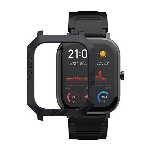 MOSHOU Sport Schutzhülle Kompatibel für Huami Amazfit GTS Smartwatch, Slim Schützen Bunte Rahmen PC Case Cover Fall Abdeckung Hülle Shell MEHRWEG (Schwarz)