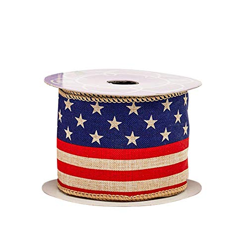 Rustic American Flag Patriotic Ribbon - 2 1/2' x 10 Yards, Memorial Day, President's Day, Veteran's Day, 4th of July, USA Wired Ribbon for Wreaths, Trees, Crafts, Decorations