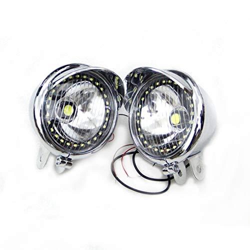 Oneriverspring40 1 par de Motocicletas cromadas ABS LED lámpara antiniebla Que Pasa el Faro de la luz del Punto de Buceo