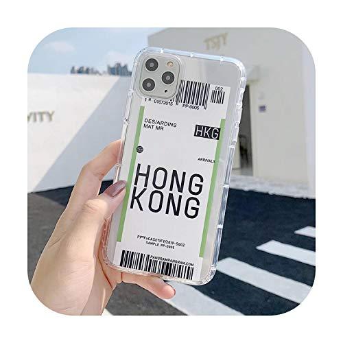 Phonecase - Carcasa para iPhone SE 2020 11 Pro X Xs Max Xr 8 7 6S 6 Plus New York Losangeles Plane Travel Label Clear Soft TPU