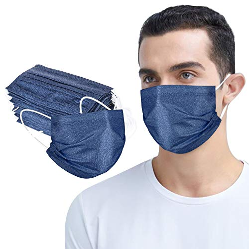 MmNote Adult Unisex Disposable Denim Face Bandanas Safety Protection Industrial 3 Ply Ear Loop Safety Protection 50PC