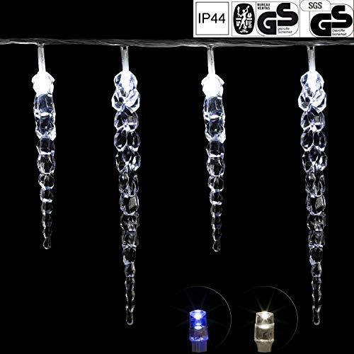 VOLTRONIC® 40 LED Lichterkette Eiszapfen für innen und außen, Farbwahl: kalt-weiß/blau, GS geprüft, IP44, optional mit 8 Leuchtmodi/Fernbedienung/Timer, Länge 5,5m + 5m Zuleitung