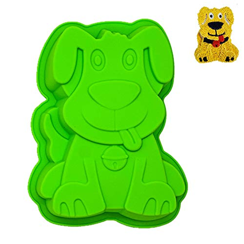 KeepingcooX Pup Puppy Dog Silikon Kuchenform zum Backen Kuchen - Hund Backform | Schokolade Mousse-Kuchen DIY, Welpe Hündchen Form | Geburtstagstorte Pfanne für Kinder, 20 x 4 x 16 cm
