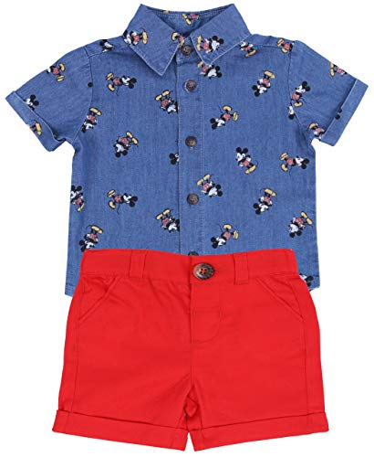 -:- Disney -:- Mickey Mouse -:- T-Shirt + rote Shorts Mickey Maus Disney 0-3 Monate 62 cm