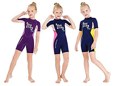 DIVE & SAIL Kids Wetsuit,Thermal Shorty Swimsuit 2.5mm Neoprene One Piece Short Sleeve Wet Suits for Girls Boys and Toddler (Blue Pink Girls, XL)…