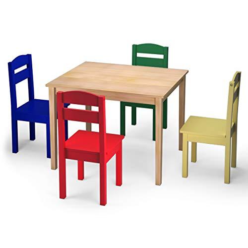 Goplus Set Mobile Tavolino con 4 Sedie per Bambini, Set Tavolo e Sgabello da Cameretta, Set Mobile Colorato, Populare tra Bambini, di Legno di Pino (Stile retrò)