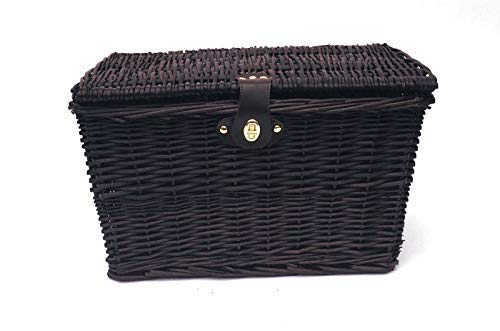 topfurnishing Strong Willow Wicker Picnic Gift Storage Xmas Empty Hamper Basket Handle[Choclate,Medium 35X28X18CM]